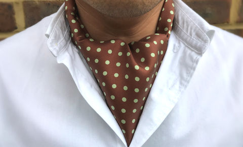 SILVANO,brown green cravat, brown polkadot cravat, brown mint green cravat, brown green polkadot cravat, polka dot cravat, polka dot ascot, yellow polkadot ascot, silk polkadot cravat, silk polkadot ascot, silk cravats online, silk ascots online, ascots for men,