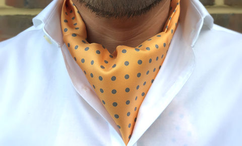 GIOVANNI,orange cravat, orange polkadot cravat, yellow cravat, yellow polkadot cravat, polka dot cravat, polka dot ascot, yellow polkadot ascot, silk polkadot cravat, silk polkadot ascot, silk cravats online, silk ascots online, ascots for men, cravats for men uk