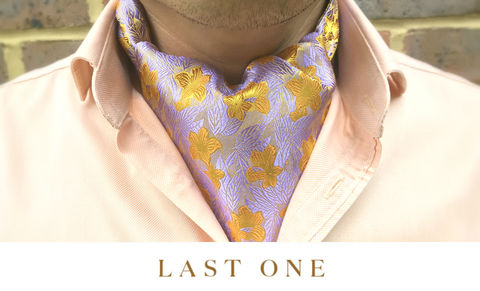 HUA,lilac orange cravat, floral cravat, silk floral cravat, silk floral ascot tie, silk ascot tie, silk day cravat, silk wedding cravat, silk wedding ascot tie, silk ascots for men, silk cravats for men, british made silk ascots, british silk cravat