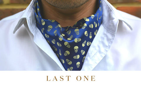 IGOR,skulls cravat, skull print ascot tie, skull cravat, silk skull cravat, yellow and blue cravat, blue cravat, silk ascot