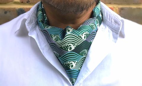 KAI,japanese cravat, japanese ascot tie, green patterned cravat, green patterned ascot, silk ascot ties, ascots online men, mens silk ascots, mens silk cravats, waves pattern cravat, green white cravat, green white ascot