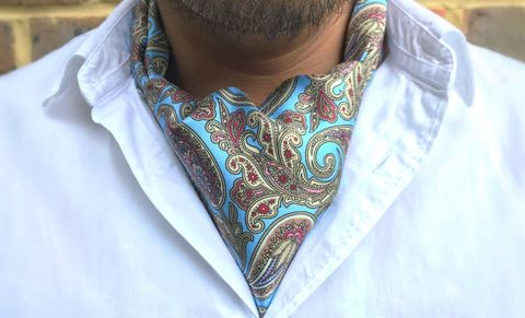AKASHA,blue silk cravat, blue paisley cravat, blue paisley ascot, silk blue ascot, silk ascots for men, mens silk ascots, silk cravats men, silk cravats online, blue cravat online, blue cravat uk, blue ascot online, paisley ascots online, paisley cravats uk, pai