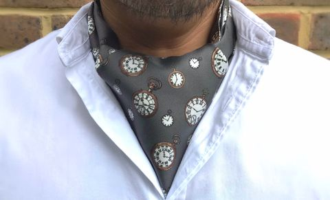 ATTAI,grey cravat, grey ascot tie, clocks cravat, clocks ascot tie, pocket watches cravat, pocket watches ascot tie, silk ascots for men, mens silk ascots, mens silk cravats, silk cravats uk, silk cravats online, silk ascots uk, silk cravats, silk ascots, grey
