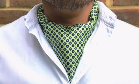 NIELS,green silk cravat, lime green cravat, mint green cravat, mint green ascot, lime green ascot, silk cravats for men, silk ascots for men, silk ascots online, silk cravats online, geometric silk cravat
