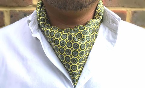 HENRIK,mens silk ascots, yellow silk cravat, yellow silk ascot ties, yellow geometric cravat, yellow geometric ascot, yellow cravat online, silk cravats for men, silk ascots for men, silk ascots online