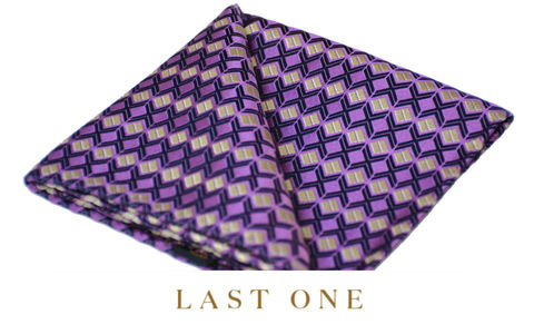 Makoa,purple silk handkerchief, purple silk pocket square, geometric silk handkerchief, mens silk hanks uk, mens silk handkerchiefs uk, silk pocket squares online