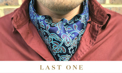 FREY,cravat, silk cravat, silk ascot, cravat online, cravats uk, ascots online, blue silk cravat, blue floral cravat, floral ascot, silk cravats uk, silk ascot ties uk