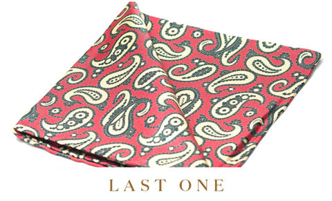 Kelso,pocket square, pocket squares online, pocket square uk, silk pocket square, red pocket square, paisley silk pocket square, mens paisley red silk pocket square, printed silk pocket square, mens hank, handkerchief, silk handkerchief, paisley pocket square,