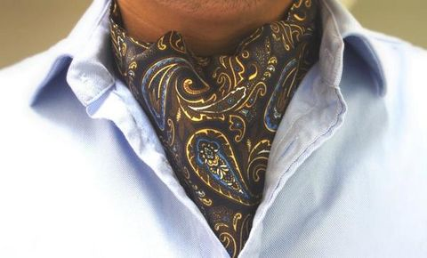 OWAIN,brown silk cravat, brown paisley cravat, brown paisley ascot, silk ascot online, brown cream paisley cravat, brown blue cravat, brown blue ascot, paisley silk cravat, paisley silk ascot, silk ascots online, silk cravats online