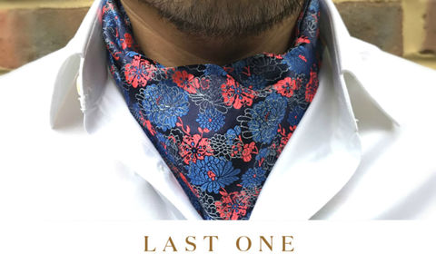 HOKUTO,japanese floral cravat, japanese floral ascot tie, floral cravat, floral ascot tie, vermilion red blue ascot tie, red blue black cravat, blue cravat, patterned cravat, patterned ascot tie, ascot ties online
