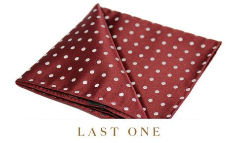 Arlo,polkadot silk pocket square, polka dot pocket square, red white polkadot handkerchief, silk hankie, silk handkechiefs