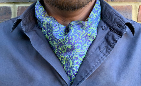 MERLIN,purple silk cravat, lilac silk cravat, lavender silk ascot tie, lavender silk cravat, lilac silk ascot, paisley silk cravat, purple paisley cravat, purple yellow cravat, purple yellow ascot, silk cravat for men, mens silk cravat, mens silk ascot, silk asc