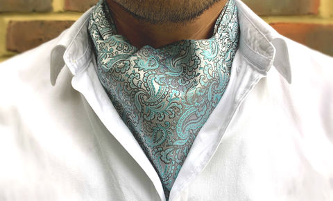 ULF,mint silk cravat, mint silk ascot, mint green ascot, mint green cravat, paisley silk cravat, paisley silk ascot tie, silk cravat for men, mens silk cravat, mens silk ascot, silk ascots men, mens silk accessories, luxury silk accessories, luxury gifts men
