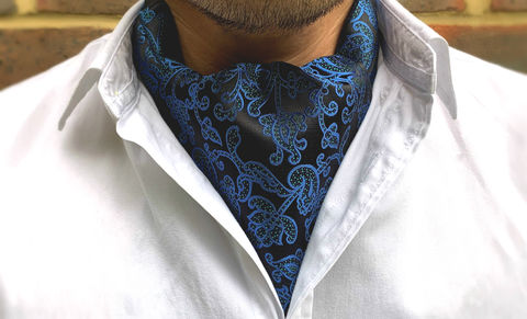 MIKKEL,blue silk cravat, blue silk ascot, patterned cravat, patterned ascot, floral ascot tie, floral cravat, mens floral cravat, silk cravat for men, mens silk cravat, mens silk ascot, silk ascots men, mens silk accessories, luxury silk accessories, luxury gift