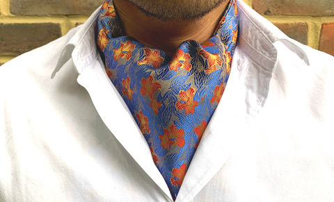 LORE,blue red yellow cravat, blue yellow cravat, blue yellow ascot, blue floral ascot, flower pattern cravat, flower pattern ascot, silk cravat for men, mens silk cravat, mens silk ascot, silk ascots men, mens silk accessories, luxury silk accessories, luxury
