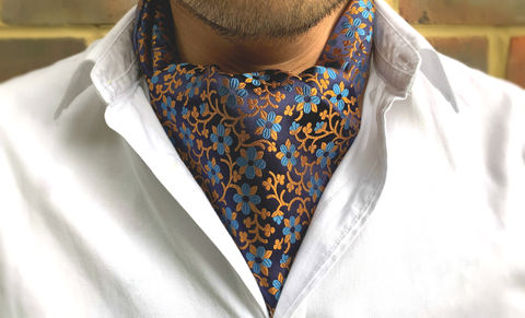 KETAK,orange blue cravat, orange blue ascot tie, orange blue floral cravat, orange botanical cravat, orange flowers cravat, blue flowers ascot tie, blue flowers cravat, silk cravat for men, mens silk cravat, mens silk ascot, silk ascots men, mens silk accessori