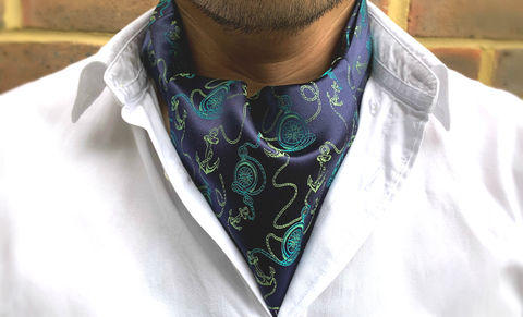 JAMES,nautical cravat, anchor cravat, sailor cravat, sailing cravat, nautical ascot tie, navy cravat, blue green cravat, blue green ascot tie, silk cravat for men, mens silk cravat, mens silk ascot, silk ascots men, mens silk accessories, luxury silk accessorie