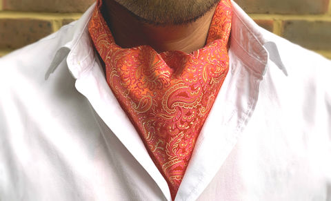 HVAR,coral paisley cravat, coral silk cravat, coral silk ascot, orange silk cravat, orange silk ascot, silk cravat for men, mens silk cravat, mens silk ascot, silk ascots men, mens silk accessories, luxury silk accessories, luxury gifts men, day cravat, mens c