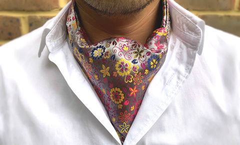 FIORELLO,floral ascot tie, multicoloured floral ascot, multicoloured floral cravat, multicoloured cravat, flower pattern cravat, flower pattern ascot, floral silk cravat, floral silk ascot, silk cravat for men, mens silk cravat, mens silk ascot, silk ascots men, m