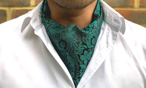 ARNDOR,green cravat, green silk cravat, green ascot tie, green silk ascot, patterned silk ascot, patterned silk cravat, birds silk cravat, bird pattern cravat, bird design ascot, botanical cravat, botanical ascot tie, silk cravat for men, mens silk cravat, mens
