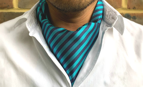 ALEK,striped cravat, stripes cravat, striped ascot tie, stripes ascot tie, blue striped cravat, blue striped ascot, silk cravat for men, mens silk cravat, mens silk ascot, silk ascots men, mens silk accessories, luxury silk accessories, luxury gifts men, day c