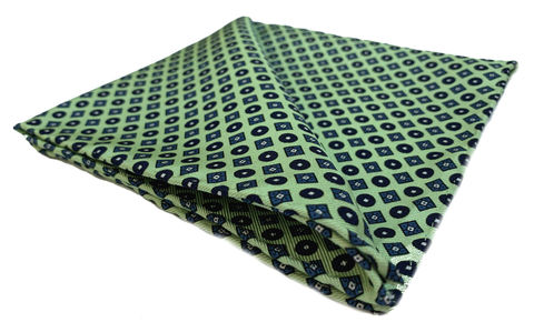 Niels,green geometric pocket square, green silk handkerchief, lime green pocket square