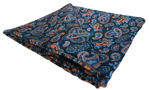 Aryan,blue orange handkerchief, blue orange paisley pocket square, blue pocket square, silk pocket square for men, silk handkerchief for men, mens silk pocket square, mens silk handkerchief