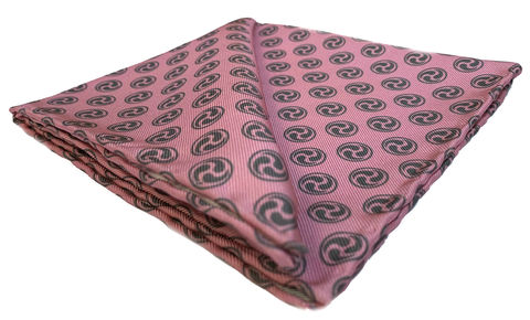 Naoto,pink pocket square, pink silk handkerchief, grey pink pocket square, japanese pocket square, japanese design handkerchief