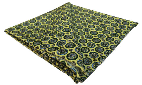 Henrik,yellow pocket square, yellow silk handkerchief, mens silk handkerchief, yellow green pocket square
