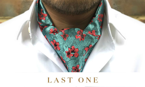 ANTHOS,floral ascot tie, floral pattern cravat, botanical garden cravat, botanical garden ascot tie, patterned cravats, patterned ascot ties, ascots online, green cravat, red green cravat, red green ascot tie, luxury cravats, luxury silk cravats, luxury silk asc
