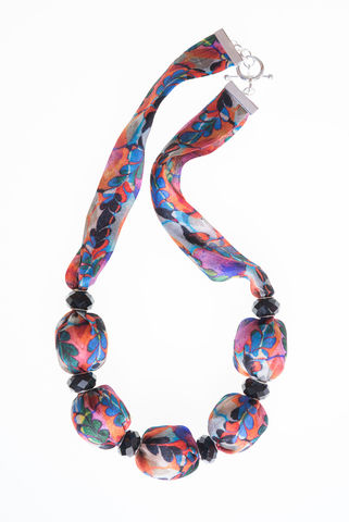 Glendurgan,Short,Necklace,with,Large,Beads, necklace, fabric necklace, silk necklace, hand made, marbled