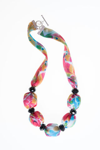 Trelissick,Short,Necklace,with,Large,Beads,marbled, fabric, silk, fabric jewellery, fabric necklace, necklace, jewellery