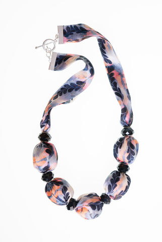 Trerice,Short,Necklace,with,Large,Beads,necklace, jewellery, fabric jewellery, silk, marbled, textiles, fabric necklace