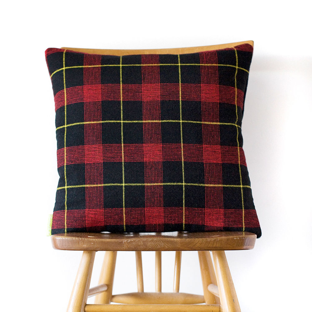Upcycled Vintage Gannex Plaid Cushion Ltd Ed Navy THE HAROLD - product images  of