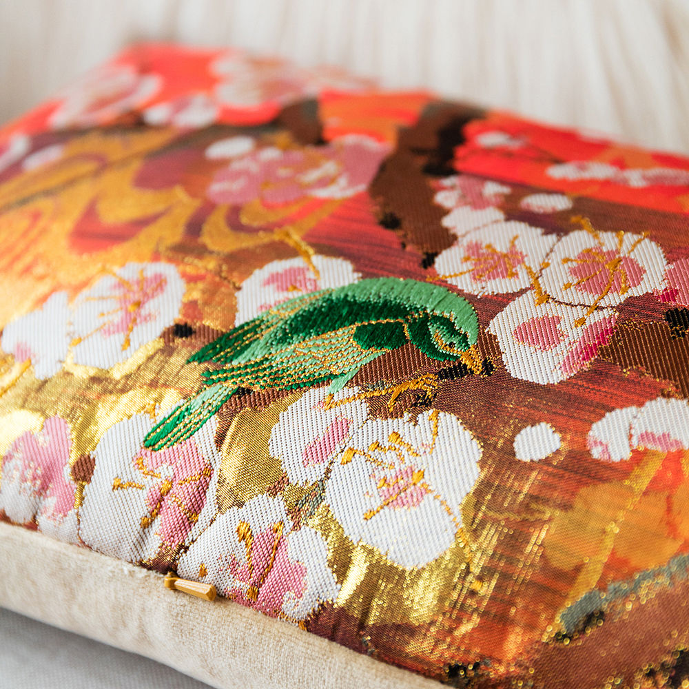Kimono Bolster Cushion -Bronze Floral Brocade Blossom Bird - product images  of