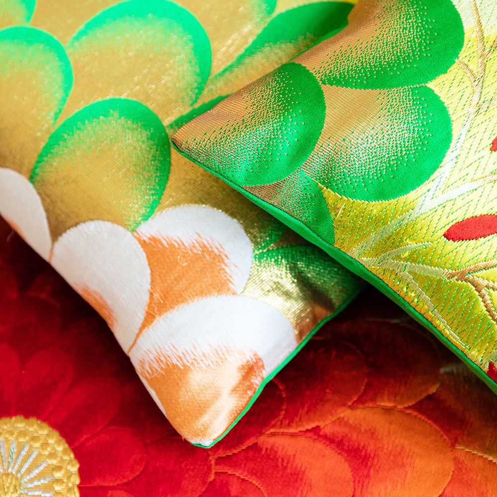 Oriental Cushion -Red, Green, Gold Silk Upcycled Obi - product images  of