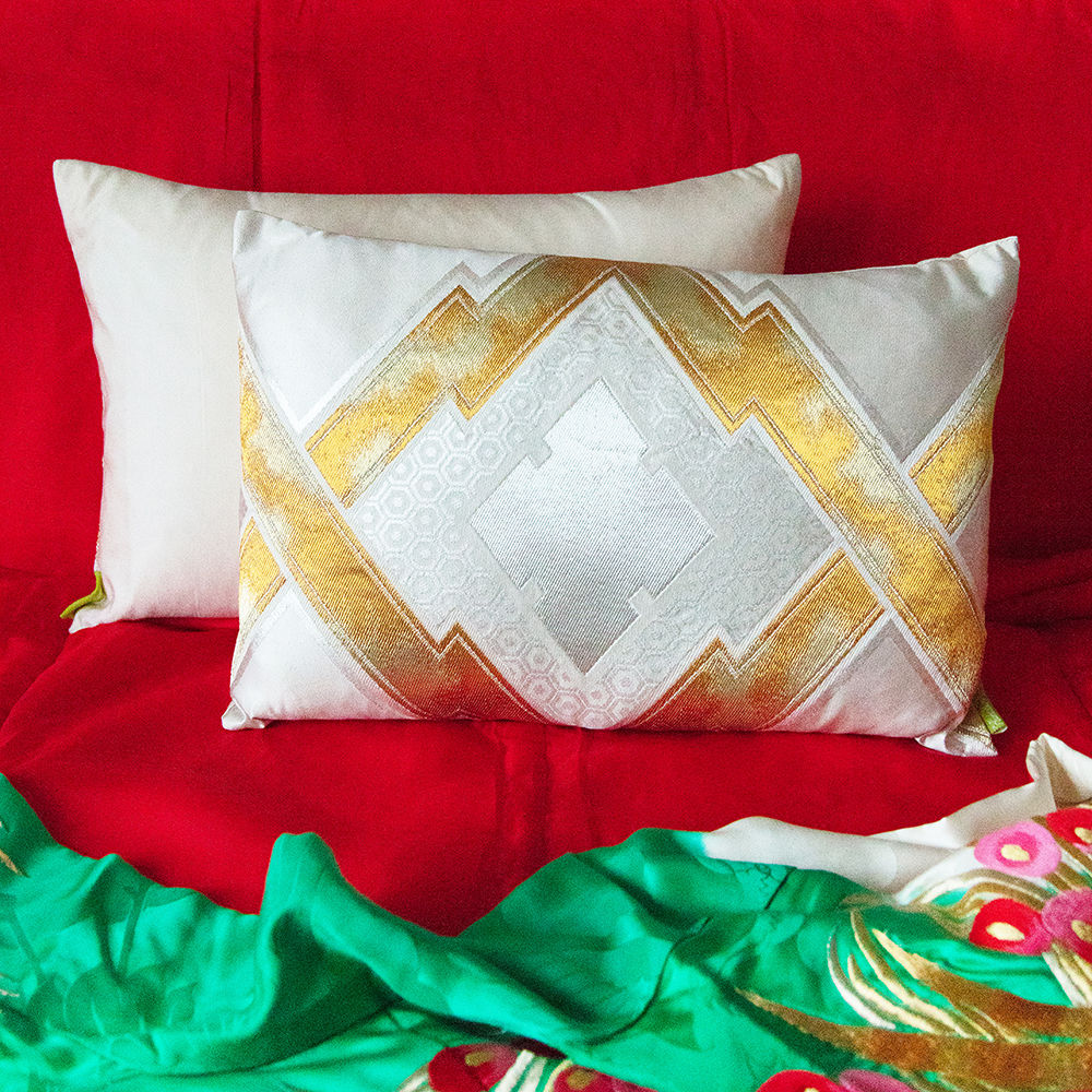 Cream Silk Cushion with Gold Embroidery -Upcycled Japanese Obi Pillow -Metallic Geometric - product image
