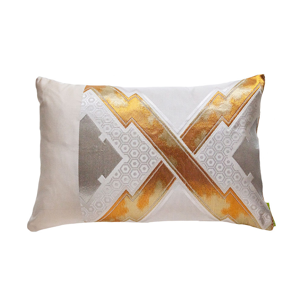 Cream Pillow, Gold Silver Accent Kimono Cushion Glam Boho Style - product images  of