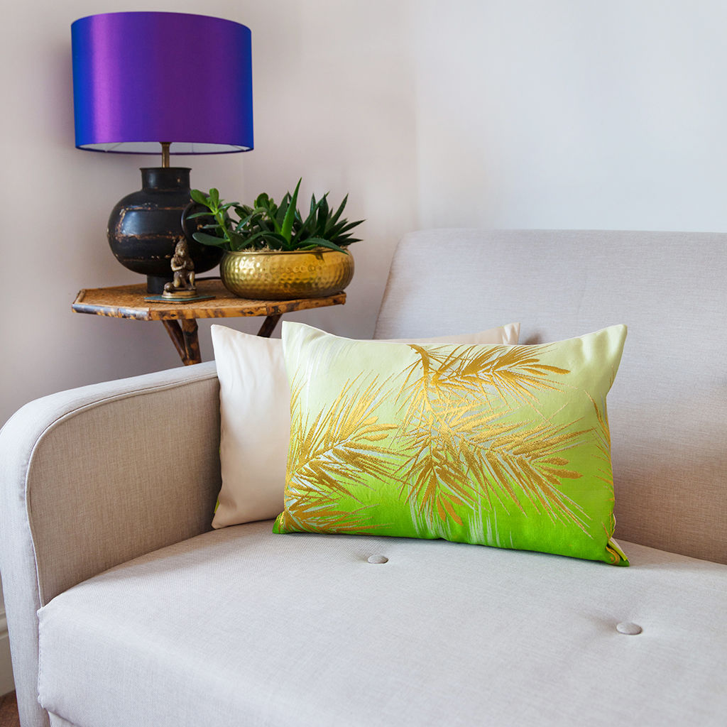 Ombre Cushion in Green/Cream with Gold Pine Pattern - product image