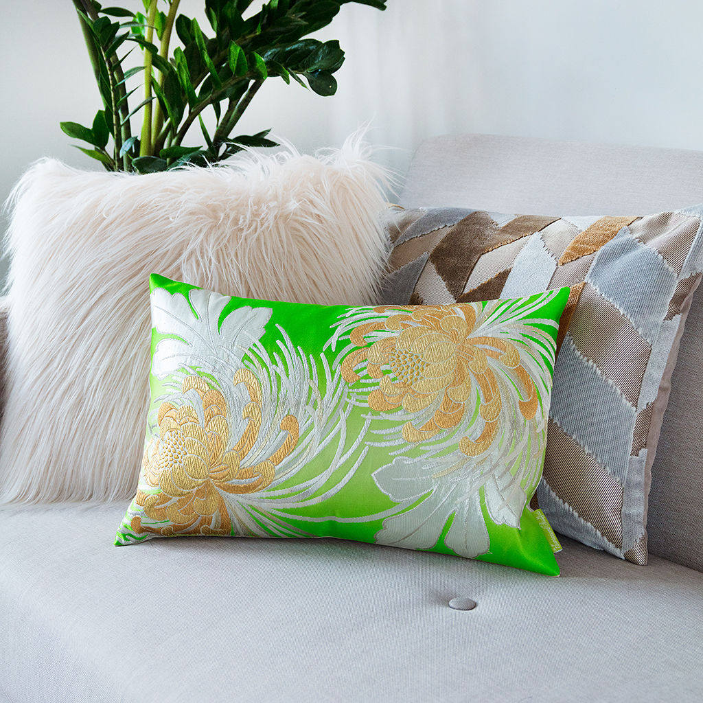 Floral Cushion in Green Vintage Obi Silk -Kiku - product image