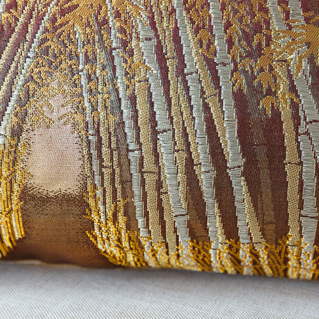 Bamboo Grove Cushion Kimono Silk Velvet Back Upcycled