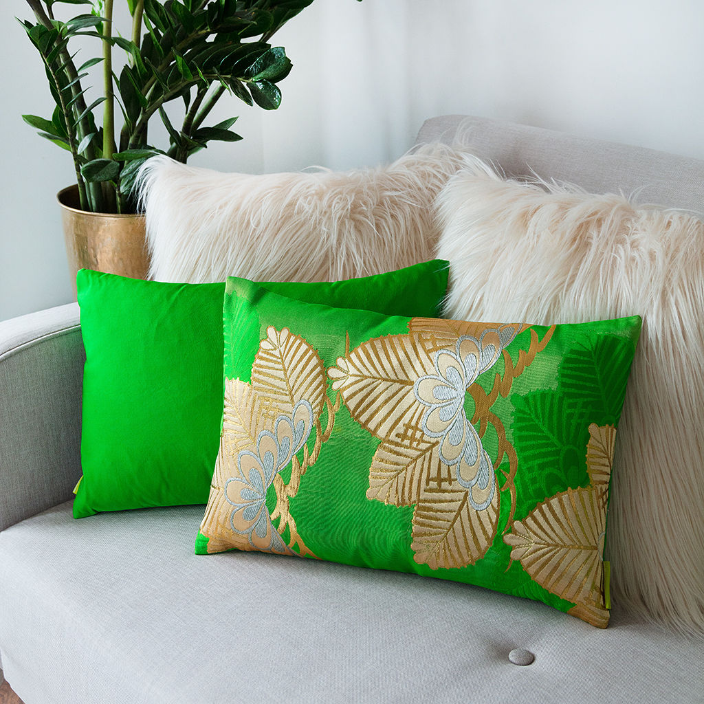 Silk Kimono Cushion -Green Gold Pine Tree - product image