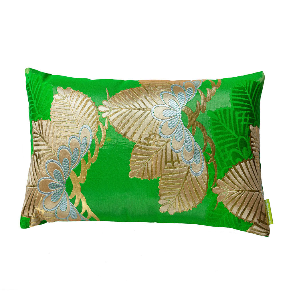 Silk Kimono Cushion -Green Gold Pine Tree - product images  of