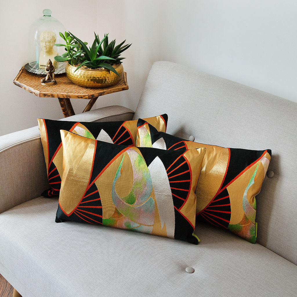 Black Silk Obi Cushion -Golden Fan Rainbow Crane - product image