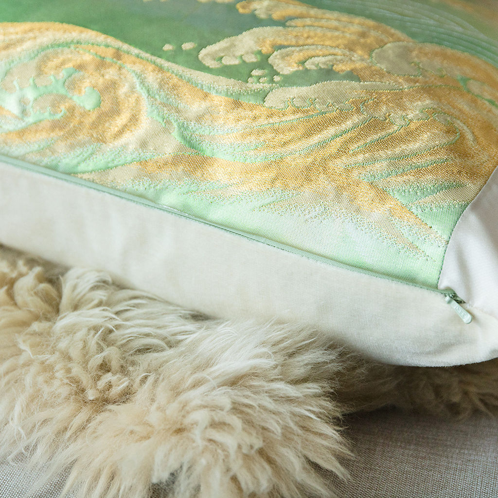 Hokusai Wave Cushion -Mint Ivory Silk Pillow - product images  of