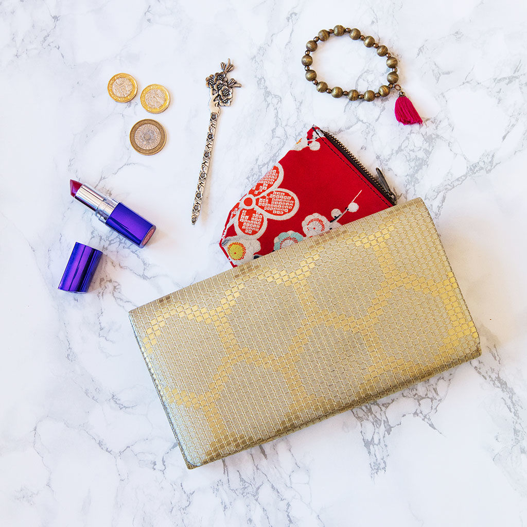 Metallic Wedding Clutch -Gold Geometric Evening Bag - product image