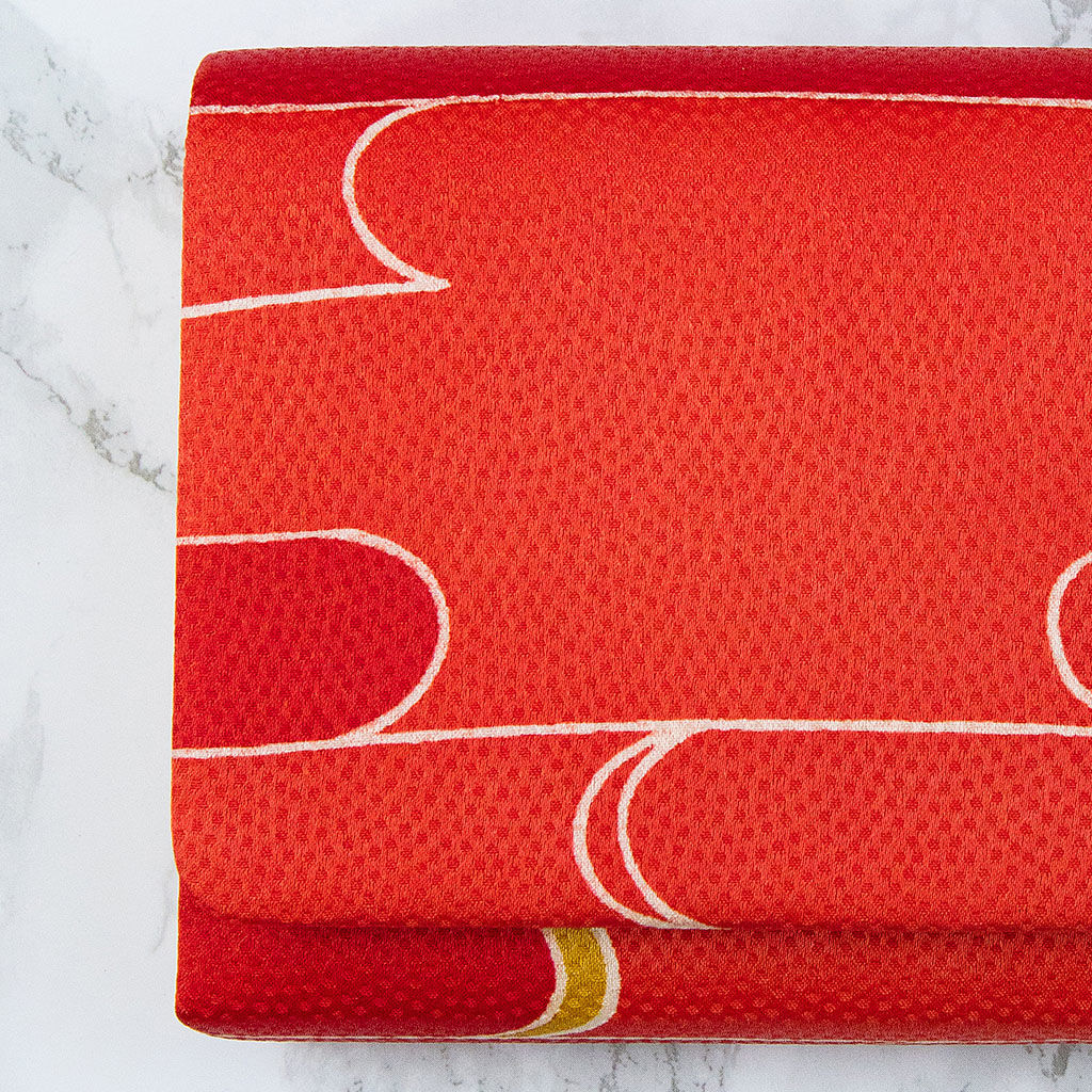 Red Fold Over Clutch Bag -Vintage Kimono Silk Evening Bag - product images  of
