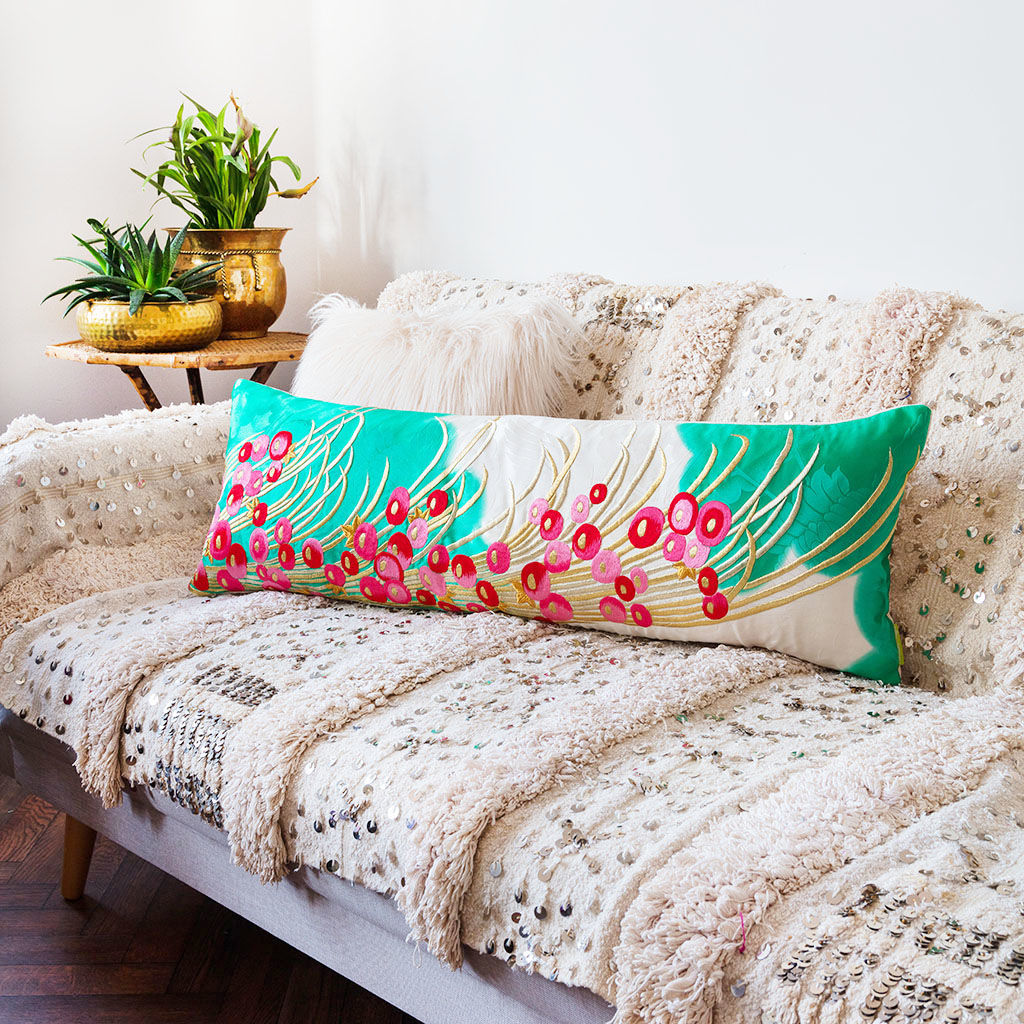 Long Silk Kimono Cushion -Teal, Gold, Pink Berries -Cream Velvet - product image