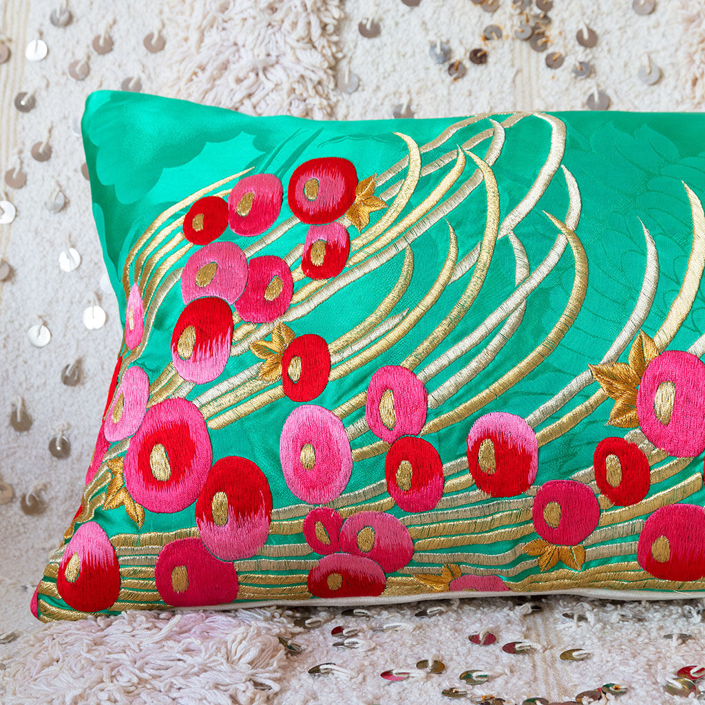 Long Silk Kimono Cushion -Teal, Gold, Pink Berries -Cream Velvet - product images  of