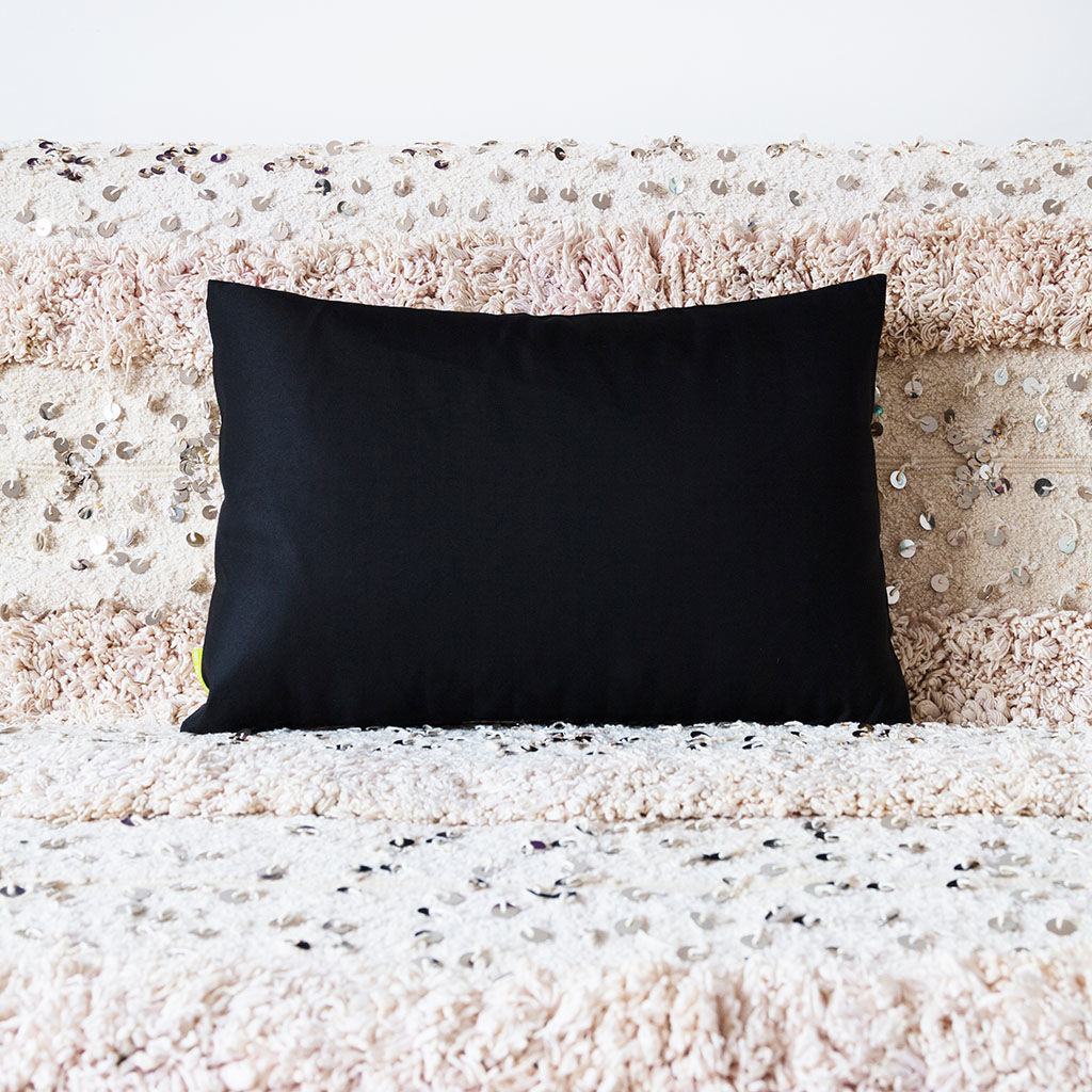 Black Throw Cushion -Gold Silver Floral Embroidery -Japanese Obi Pillow - product images  of